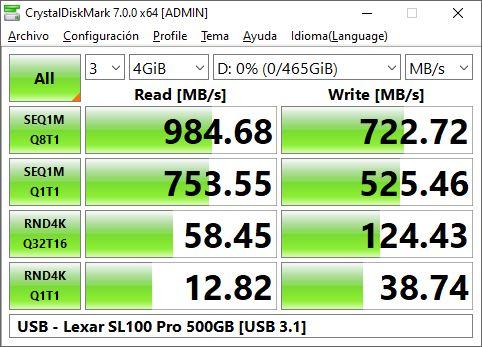 USB Lexar SL 100 Pro 500 GB USB 3 1